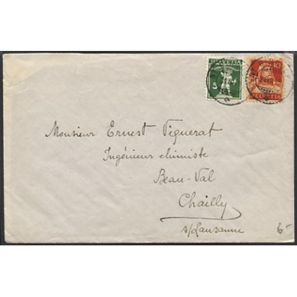 Switzerland 1919 internal cover Tell stamps