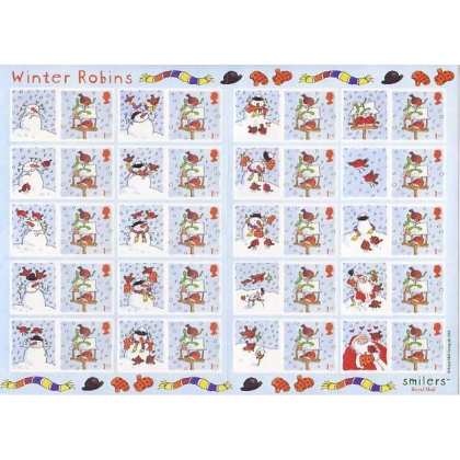 LS14 Christmas Robins Smilers Sheet 1st class
