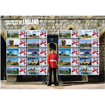 LS59 Castles of England Flag Smilers Sheet self-adhesive
