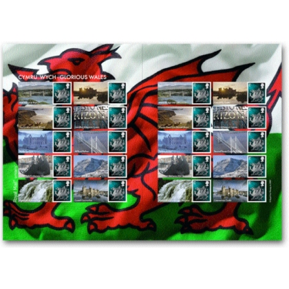 LS37 Glorious Wales Smilers Sheet - new 1st class stamp
