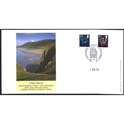 20080401 Wales 50p & 81p definitive stamps on fdc