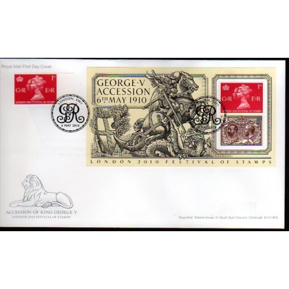 3065a Acccession of King George V MS & single on first day cover 2010