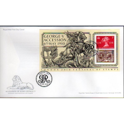 3065 Acccession of King George V miniature sheet first day cover 2010