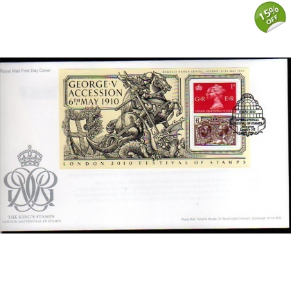 3065b Festival Overprint on King George V miniature sheet first day cover 2010