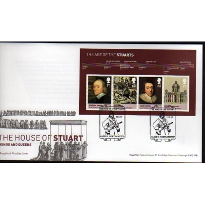 3094 The Age of the Stuarts MS on first day cover 2010