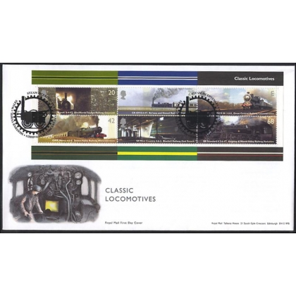 2423MS Classic steam locomotives MS on Royal Mail fdc