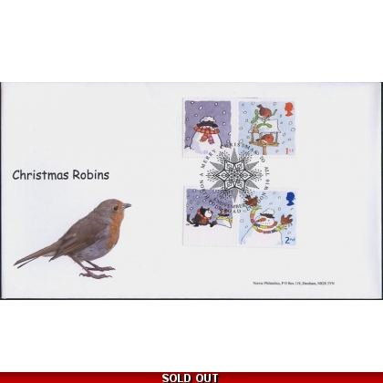 2588s Christmas Smiler Robin pair on Norvic fdc