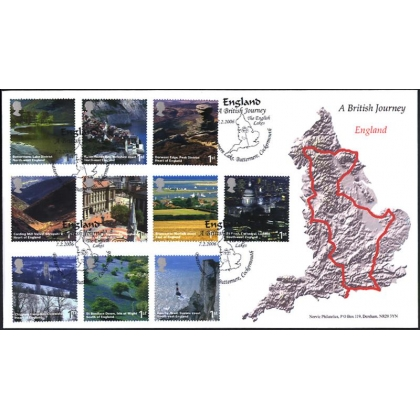 2597 British Journey England Norvic map FDC