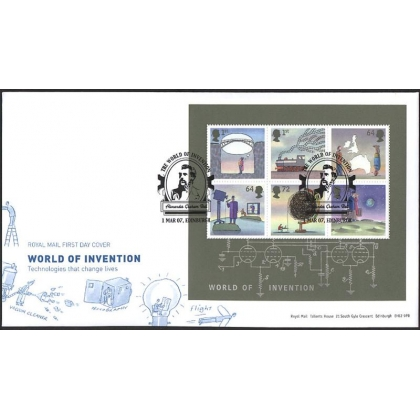 2720 World of Invention MS on Royal Mail fdc 2007