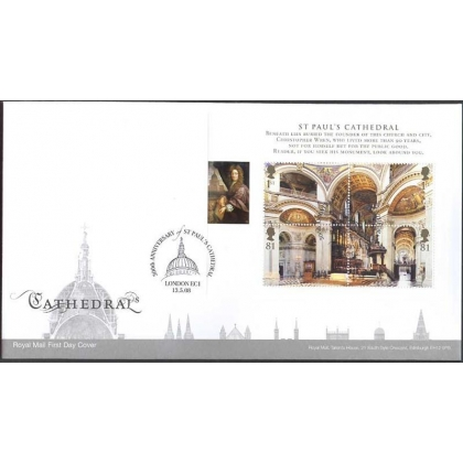 2847 St Pauls Cathedral MS on Royal Mail first day cover 2008