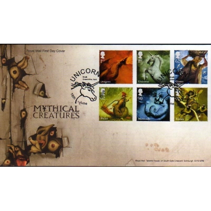 2944 Mythical Creatures set on Royal Mail FDC2009