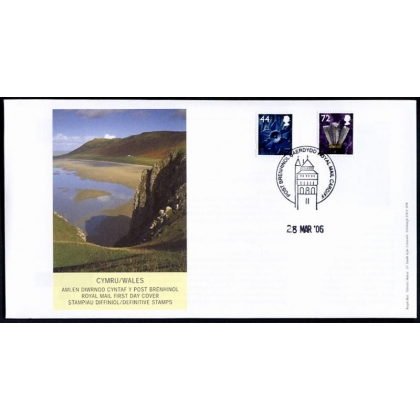 20060328 Wales 44p & 72p definitive stamps on fdc 2006