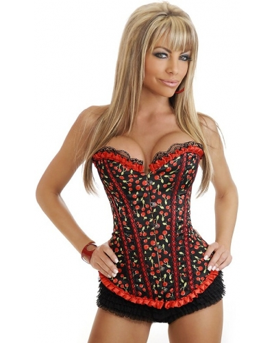88ae5155af Black and Red Cherry Corset