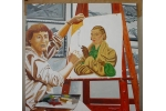 Portrait of Rita Angus painting her portrait [ Black, White & Brown ]
