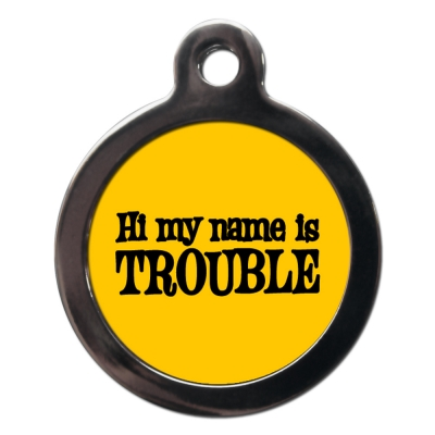 Trouble Dog Tag title=