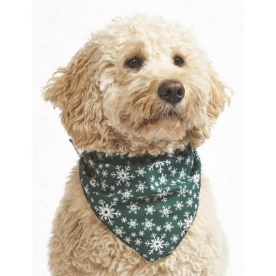 Mini Green Snowflake Christmas Bandana