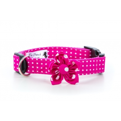 Pink Polka Flower Collar title=