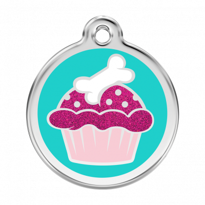 Red Dingo Glitter Cupcake Tag