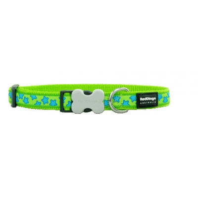 Lime Stars Red Dingo Collar title=