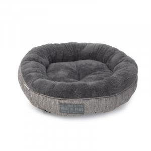 Grey Hessian Donut Cat Bed - House of ..