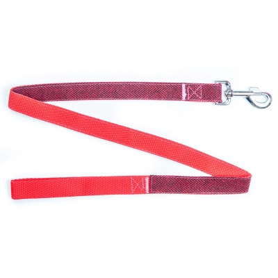 Red Herringbone Tweed Lead