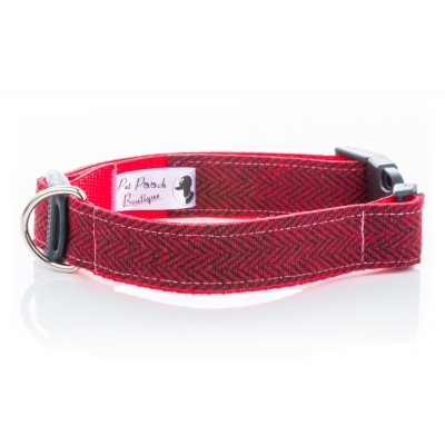 Red Herringbone Tweed Collar
