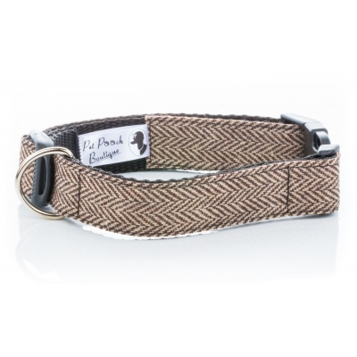Brown Herringbone Tweed Collar
