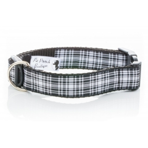 Black Plaid Wesley Collar