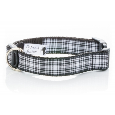 Black Plaid Wesley Collar title=