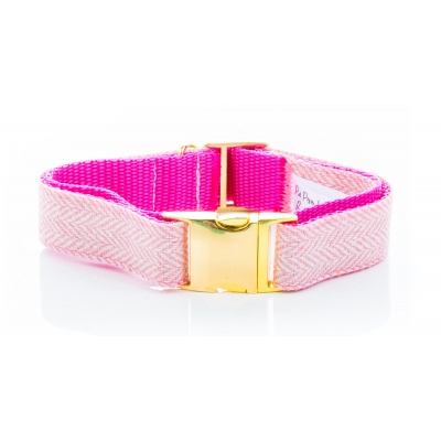 Pink Herringbone Tweed Collar on Gold