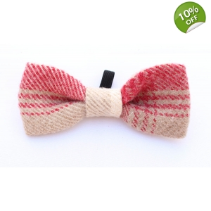 Fushia Tweed Tartan Wool Bow Tie