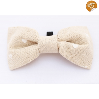 Hessian White Hearts Bow Tie