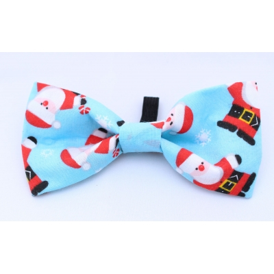 Blue Santa Christmas Bow Tie