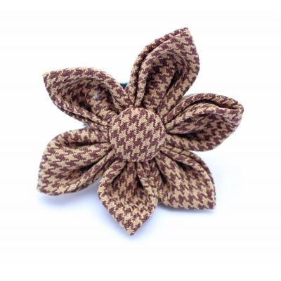 Brown Houndstooth Flower Accessory