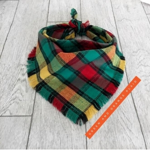 Frayed Green & Burnt Orange Plaid Band..
