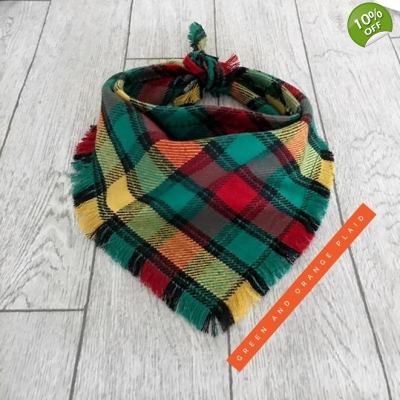 Frayed Green & Burnt Orange Plaid Bandana
