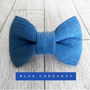 Blue Corduroy Dog Bow Tie
