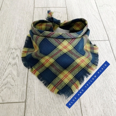 Frayed Blue & Yellow Plaid Bandana