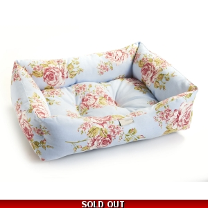 Blue Floral Dog Bed