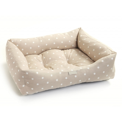 Taupe Polka Dot Dog Bed