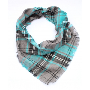Frayed Buffalo Blue Plaid Bandana - Sc..