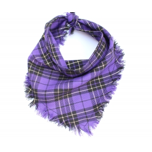 Frayed Purple & Gold Plaid Bandana - S..