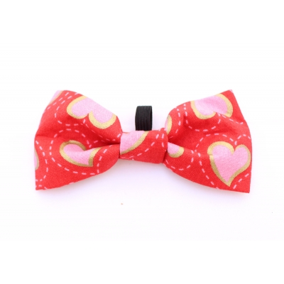 Fancy Red Hearts Bow Tie