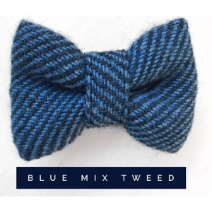 Blue Mix Tweed Dog Bow Tie