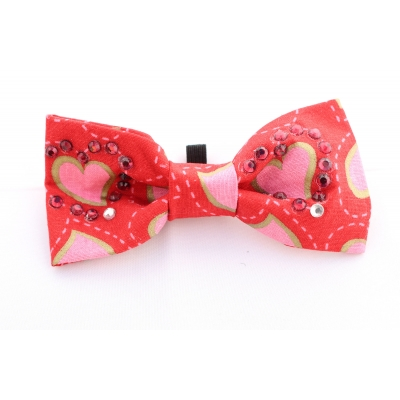 Fancy Red Hearts Crystal Bow Tie title=