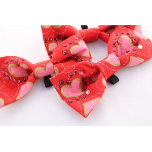 Fancy Red Hearts Crystal Bow Tie