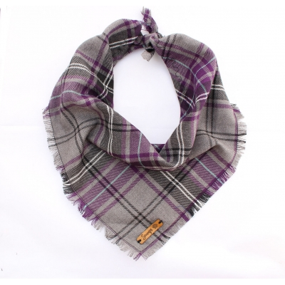 Frayed Buffalo Purple Plaid Bandana - Scamps title=