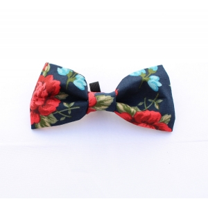 English Navy Rose Bow Tie