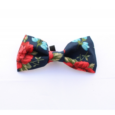 English Navy Rose Bow Tie title=