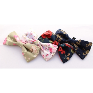 Golden Navy Mini Flower Bow Tie